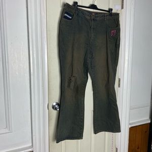 Route 66 green flare distressed jeans 22W womens